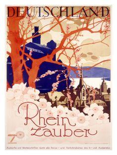 Rhein zauber, Deutschland, Travel Poster (Rhine River Magic, Germany)