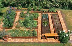 raised beds + brick pathways