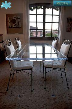 Lucite Acrylic dining table - TAVOLI PRANZO IN PLEXIGLAS | Tavolo trasparente in plexiglas 03.mod. MISSING - piano intero in plexiglas | Tavolo plexiglas piano in plexiglas cm.200 x 90 - telaio cm.176 x 66 sp.mm.50 - gambe sez.mm.70 - h.cm.76