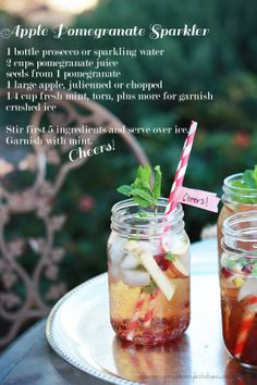 Cheers! These virgin (or Champagne) Apple Pomegranate Sparklers are so delicious and pretty for winter. #recipe