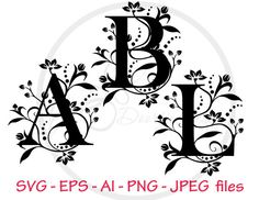 Monogram Letters SVG, Alphabet svg files, svg files for cricut, svg font files, silhouette files, monogram svg, pdf, eps, jpeg
