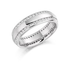 Beautiful eternity ring made of two rows of micro round brilliant diamonds channel set in white gold. This ring available in quarter/half and full eternity. White Gold Wedding Rings, Silver Rings, Cute Rings, Rose Gold, Engagement Rings, Diamond, Instagram, Eternity Rings, Jewelry