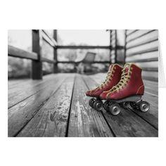 Black & White Vintage Red Roller Skates Card