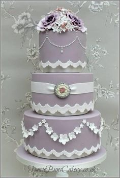Lavender Victoriana Wedding Cake ~ all hand molded and all flowers are edible