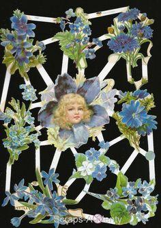 German Embossed Scrap Die Cut - Beautiful Flowers & Blue Flower Girl    EF7101