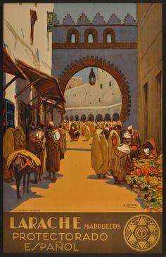 Morocco Larache Marruecos Bertuchi, 1940 - original vintage poster by Mariano Bertuchi listed on AntikBar.co.uk