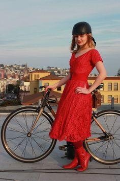 National Wear Red Day, bikepretty, bike pretty, cycle style, cycle chic, bike model, girl on bike, bike fashion, cute bike, red, vintage dress, 50s dress, san francisco, outfit of the day