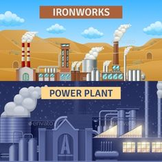 Factory Banners Set by macrovector Factory building horizontal realistic banners set with ironworks and power plant isolated vector illustration. Editable EPS and Re