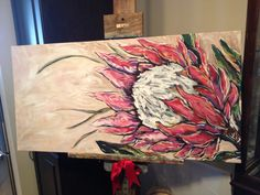 Protea painting by Angela Pearce Oil Painting Abstract, Painting & Drawing, Watercolor Art, Protea Art, Pottery Painting Designs, Abstract Flowers, Painting Flowers, Pallet Art, Ink Drawings