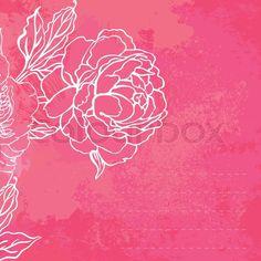 Stock-Vektor von 'Schöne Pfingstrose Bouquet Design auf einem rosa Hintergrund'