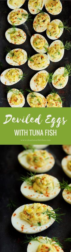 This tuna deviled eggs recipe combines tuna with mayonnaise, Dijon mustard, horseradish, green onion, eggs, and dill to make a deliciously fun appetizer!