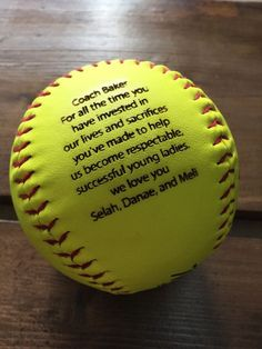 Hey, I found this really awesome Etsy listing at https://www.etsy.com/listing/259252631/engraved-softball-custom-message