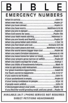 """Bible """"emergency numbers"""" (verses) for all occasions Bible Verses Quotes, Bible Scriptures, Bible Verses For Strength, Motivational Scriptures, Scripture On Perseverance, Scriptures For Encouragement, Faith Quotes, Family Bible Quotes, Friendship Bible Quotes"""