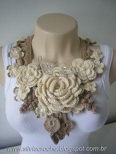 Ожерелье обнаженная, ню, вязание крючком ожерелье, ожерелье женщин, вязание крючком цветы,