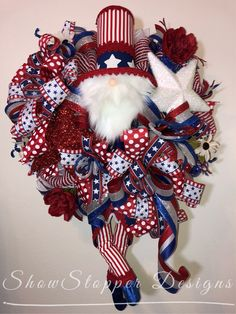 Sharing a wreath by Show Stopper Designs Uncle Sam WreathPatriotic WreathFront Door DecorDoor *affiliate link Patriotic Wreath, Patriotic Decorations, 4th Of July Wreath, Mesh Wreaths, Holiday Wreaths, 4th July Crafts, Wreath Making Supplies, Welcome Wreath, Trendy Tree