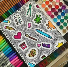 Discover recipes, home ideas, style inspiration and other ideas to try. Doodle Art Drawing, Zentangle Drawings, Mandala Drawing, Painting & Drawing, Zen Doodle, Doodle Art Designs, Doodle Patterns, Doodle Borders, Dibujos Zentangle Art