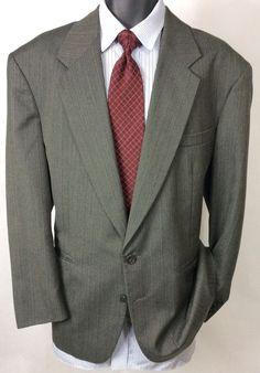 CELLINI Mens Striped Gray Suit Jacket Size 42R | 2 Button Sport Coat #Cellini #TwoButton