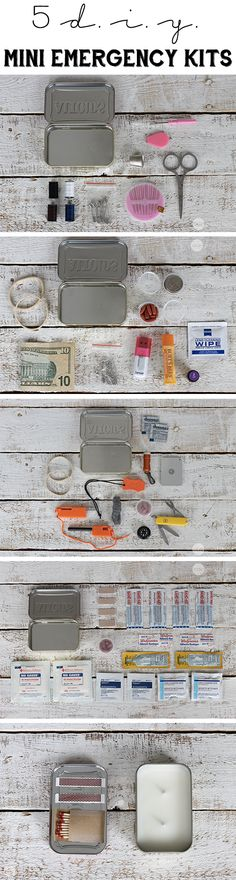 DIY Mini emergency kits that cover just about every crisis that might arise.