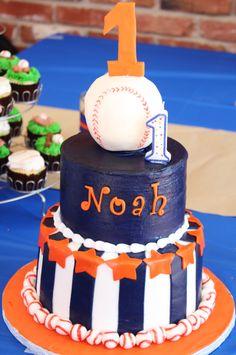 Baseball birthday party cake; baseball party decorations