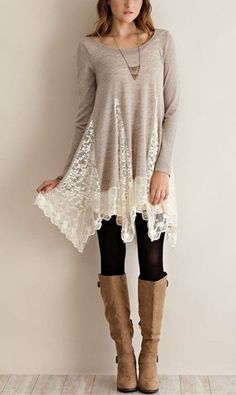 Trendy Scoop Collar Long Sleeve Lace Splicing Asymmetrical Women's Dress Never been a fan of dresses but this one is perfect for Autumn/Winter time! Modest Fashion, Fashion Outfits, Modest Clothing, Fashion Ideas, Fashion Images, Fashion Clothes, Fashion Trends, Fall Outfits, Cute Outfits