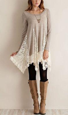 d534de7225 Trendy Scoop Collar Long Sleeve Lace Splicing Asymmetrical Women s Dress  Long Sleeve Lace Shirt