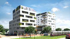Perspective extérieure d'un programme neuf à Dijon réalisé pour le Groupe Voisin.