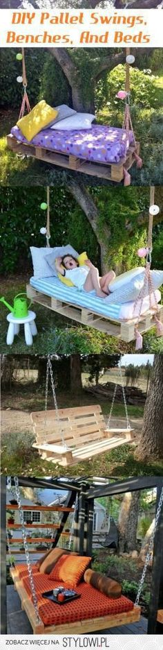DIY Pallet Swings, Benches, And Beds - DIY Pallet Projects - Repurposed Pallets - Upcycled Pallet Furniture - DIY Furniture - Reclaimed Pallet Projects - Pallet Tables - Pallet Crafts, Pallet Projects, Home Projects, Backyard Hammock, Hammock Ideas, Outdoor Hammock, Backyard Camping, Backyard Retreat, Backyard Playground