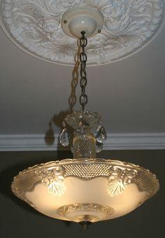 Vintage 1940s antique pink art deco atomic retro ceiling light lamp 1940s antique glass art deco light fixture ceiling chandelier frosted mozeypictures Image collections