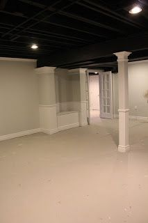 Basement remodel with painted exposed ceiling; interesting idea.... Might save some money too.