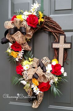 Grapevine Cross Rose Wreath from Chancey Creations on Etsy