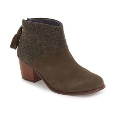 Women's Toms 'Leila'  Bootie ($98) ❤ liked on Polyvore featuring shoes, boots, ankle booties, dark green suede, short boots, bootie boots, ankle bootie boots, toms booties and stacked heel bootie