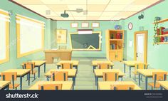 Vector cartoon background with empty classroom interior inside Back to school concept illustration Classroom interior School classroom Classroom architecture