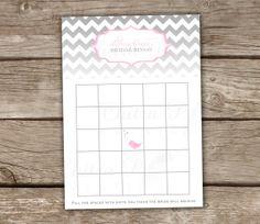 Ombre Chevron Bingo Cards - Bridal Shower, Baby Shower, Pink, Grey, DIY on Etsy, $10.00