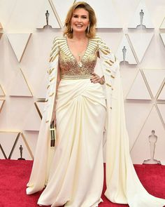 Yousra in white gold dress designed by Zuhair Murad from OSCARS RED CARPET 2020