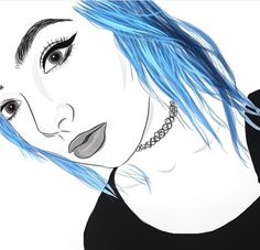 Hair, blue, draw, outlines, art
