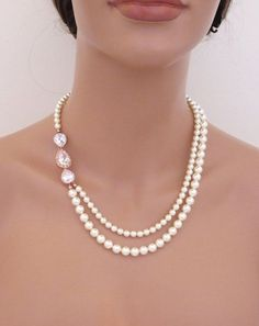Rose Gold Bridal necklace Pearl Wedding necklace by treasures570