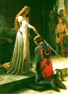 "home of arthurian legend.  Arthur, Lancelot, Guinevere, Merlin, Camelot, the Knights of the Round Table & Excalibur.  Painted by Edmund Leighton - ""the Accolade"""