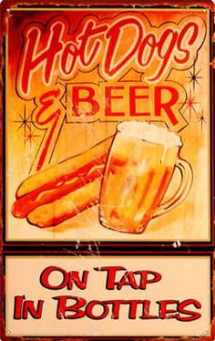 hot dogs and beer, cute for kicthen wall..