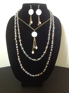 Natural pearl necklace and earring set I made.