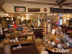 Old fashioned General Store with creaky wood floors and jars of candy.