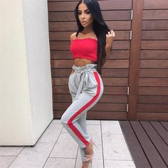 Model Number: Women Drawstring High Waist Pants Material: Polyester Style: Casual Length: Full Length Front Style: Flat Closure Type: Drawstring Waist Type: High Pant Style: Harem Pants