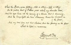 Handwritten last stanza of The Raven, a poem by Edgar Allan Poe.