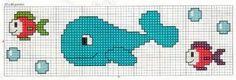 Balena e pesciolini Baby Cross Stitch Patterns, Baby Bibs Patterns, Cross Stitch Baby, Cross Stitch Charts, Cross Stitch Designs, Cross Stitch Embroidery, Hand Embroidery, Bib Pattern, Le Point