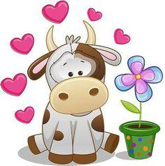 Kravica,Little cow in love Cartoon Cow, Cute Cartoon, Cartoon Drawings, Cute Drawings, Cow Pictures, Art Mignon, Cow Art, Cute Clipart, Cute Illustration