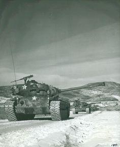 "Tanks Near Hagaru-ri, 6 December 1950 ""6 December 1950. Tanks move down the road from Hagaru-ri."" M26 Pershing, Patton Tank, World Of Tanks, Korean War, Military History, Military Art, Marine Corps, Us Army, World War Two"