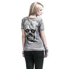 """Maglietta donna a maniche corte grigia """"Smokin Skull"""" del brand #Rockupy con scollo tondo, effetto Burnout e ampia stampa sul retro."""