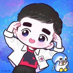 D.O. Penguin Fanart by Cookie ✨💕 Kpop Exo, Exo Kokobop, Exo Do, Kpop Drawings, Cute Drawings, Kyungsoo, Kaisoo, Exo Cartoon, Exo Anime