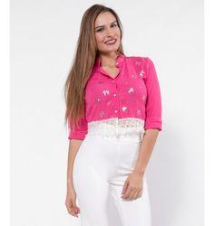 Crop Πουκάμισο με Δαντέλα και Χρυσά Φιογκάκια - Φούξια Tops, Women, Fashion, Moda, Women's, Fashion Styles, Woman, Fasion