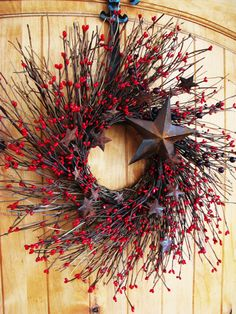 Primitive RUSTIC RED STAR Twig Wreath-Holiday Door Wreath-Fall Wreath-Patriotic Door Decor-Scented Cinnamon Stick
