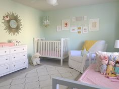 Mint and Pink Nursery A soft, classic and neutral mint and pink nursery that would eventually transition to Elena's big girl bedroom.A soft, classic and neutral mint and pink nursery that would eventually transition to Elena's big girl bedroom. Pink And Green Nursery, Nursery Paint Colors, Mint Nursery, Baby Nursery Decor, Baby Bedroom, Baby Boy Rooms, Nursery Bedding, Girls Bedroom, Project Nursery